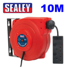 Sealey Tools CRM10 10m Extension Cable Reel Retractable System 2 x 230V Sockets