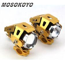 2Pcs New Motorcycle CREE U5 LED Driving Fog Head Spot Light Headlight Gold MOS