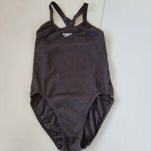 SPEEDO Endurance Size 12 Black One-piece Swimsuit Swimwear Togs Racer Back