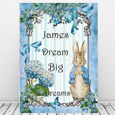 Peter Rabbit Print DREAM BIG DREAMS Personalised Boys Room Decor Gift Blue Baby