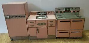 Vintage Pink Wolverine Toy Kitchen Set Sink Stove Refrigerator