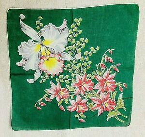 Vintage Hankie Pink Irises on Dark Green Background 13 Inches