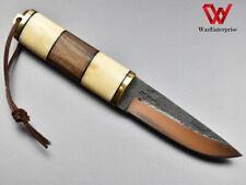 Viking knife Handmade High Carbon Steel Puukko Knife Walnut Wood and Bone Handle