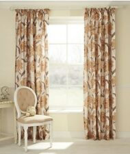 """66"""" X 90"""" Pencil Pleat Lined Ready Made Curtains Floral Gold Brown Beige Luxury"""