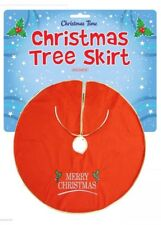 Merry Christmas Tree Skirt 90cm Large Red & Gold Embroided Christmas Decor Gift