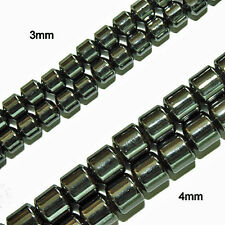 Magnetic Hematite Beads High Power Cylinder Drum 4mm Bead Strands HP44