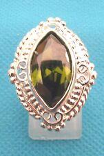 Silver Overlay With Natural Green Peridot Ring Size O 1/2 US 7.5 (rg0398)