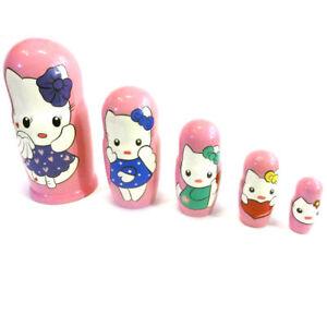 Hello Kitty Matryoshka Stacking Wooden Nesting Dolls Cartoon Characters Toys 5pc