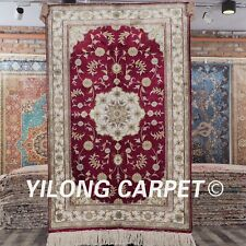 YILONG 2.5'x4' Oriental Handmade Silk Carpet Red Antistatic Indoor Rug J15B