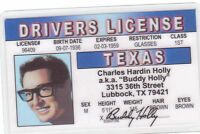 Buddy Holly (and the Crickets ) Lubbock TX Drivers License ID card