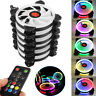 3/6-Pack RGB LED Quiet Computer Case PC Cooling Fan 120mm with Remote Control