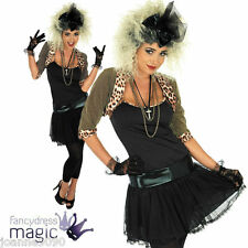 Ladies Womens Wild Child Madonna Fancy Dress Costume 80s Retro Pop Star Outfit L