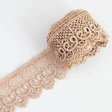 Hollow Flower Khaki Motif Venise Lace Trim Sewing Craft DIY Craft 3 Yds