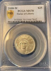 2008-W PLATINUM 1/4 OZ. $25 BURNISHED STATUE OF LIBERTY PCGS SP70 MS70 - Secure