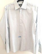 Hugo Boss FRENCH CUFF Dress Shirt Men's REGULAR FIT White Blue Stripes 16 32/33