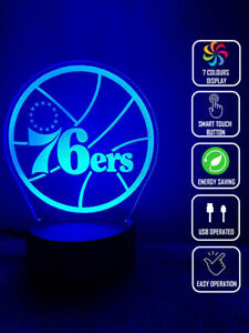 PHILLY 76ERS BASKETBALL 3D Acrylic LED 7 Colour Night Light Touch Table Lamp