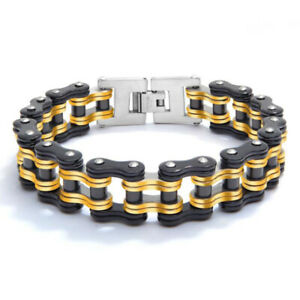 Men's Stainless Steel Bracelet Titanium Bicycle Chain Cuban Bangle Black Yellow