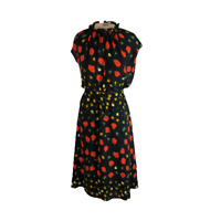 Banana Republic Floral Vintage Inspired Dress Black Orange Yellow 2 P Petite