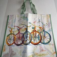 "Reusable Tote Bag  19"" x 17"" x 7"" COLORFUL BICYCLES"
