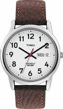 Timex T20041, Men's Easy Reader Brown Leather Watch, Indiglo, Day/Date, T200419J