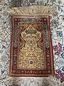Antique Hereke Silk Rug With Gold Thread