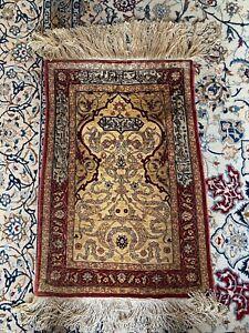 Antique Hereke Silk Rug With Gold Thread