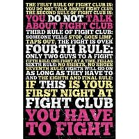 "FIGHT CLUB POSTER - EIGHT RULES OF FIGHT CLUB - MOVIE - 91 x 61 cm 36"" x 24"""