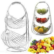 2/3 Tier Swinging Fruit Basket Fruit Bowl Hanger Stand Banana Fruit Storage Bowl