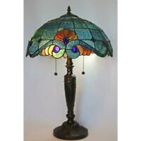 tiffany style 25 in. blue vintage table lamp | glass shade stained light bell