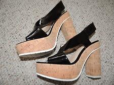 * Womens New Size 6.5 Black Calvin Klein Platform Cork High Heel Shoes Sandals