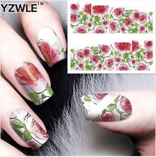Nail Art Stickers Transfers Decals Red Watercolour Roses (A-83)