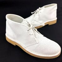 Tory Burch Womens Size 7 Bergen White Cracked Leather Chukka Desert Boots Shoes