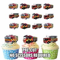PRECUT Fire Engines 12 Edible Cupcake Toppers Decorations Boys Mens Birthday