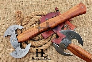 HUNTEX Custom Hand Forged Damascus 455 mm Long Walnut Wood Twin Blade Battle Axe
