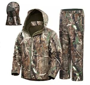 NEW VIEW Hunting Jacket, Pants, Hood - Silent, Water Resistant, Camo Tree, 3XL