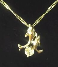 Solid 925 Silver Mother Son Father Daughter Dolphins CZ Necklace (N2A)