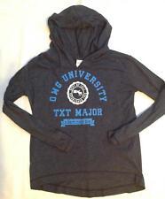 abercrombie kids girls super soft hoodie long sleeve shirt navy blue OMG Text L