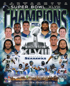 Seattle Seahawks Super Bowl XLVIII Champions Team 8x10 Photo Russell Wilson