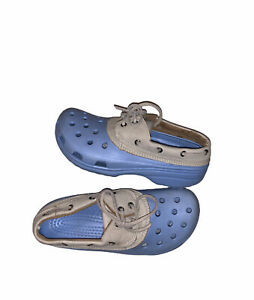 Crocs Islander Pitcrew Size M-7 W-9 Sky Blue Cream  Leather Sport Boat Shoes