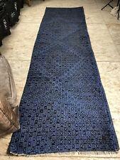 3 X 11 Blue Kilim Runner Rug Turkish Overdyed 70's Vintage Flatweave Carpet