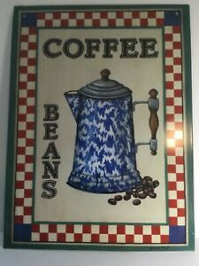 Coffee Beans Metal Tin Kitchen Dining Restaurant Sign - New