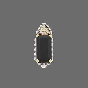 Lagos Caviar 18k Gold Sterling Silver Diamond Smoky Quartz Pendant For Necklace