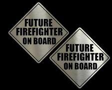 (2) FUTURE FIREFIGHTER Chrome Vinyl Decals - 6 inch Cars, Trucks, SUV, Laptops