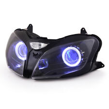 KT For Kawasaki ZZR600 2000 2008 LED Angel Halo Eye HID Headlight Assembly Blue