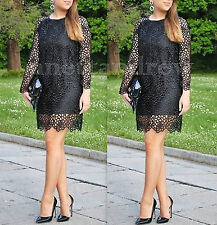 ZARA WOMAN BLACK LACE CROCHET DRESS WITH FAUX LEATHER NECKLINE SIZE S UK 8