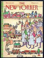 1987 Santa's Workshop Elves Toy Train by Wm Steig Dec 14 New Yorker COVER ONLY
