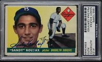 Sandy Koufax LA Dodgers HOF 1955 Topps #123 Autographed Signed ROOKIE CARD PSA