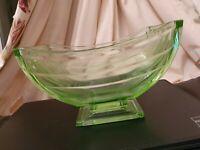 Art Deco Vintage 1930's Green Glass Pedestal Bowl / Centre Piece