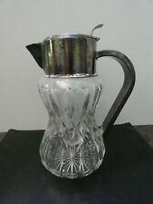 (6623) Kalte Ente Kristallglas geschliffen + Metall versilbert Höhe ges.ca. 30cm