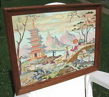 """Vintage 18 x 24"""" ASIAN TEMPLE & Lady in Rickshaw Paint By Number Framed Painting"""